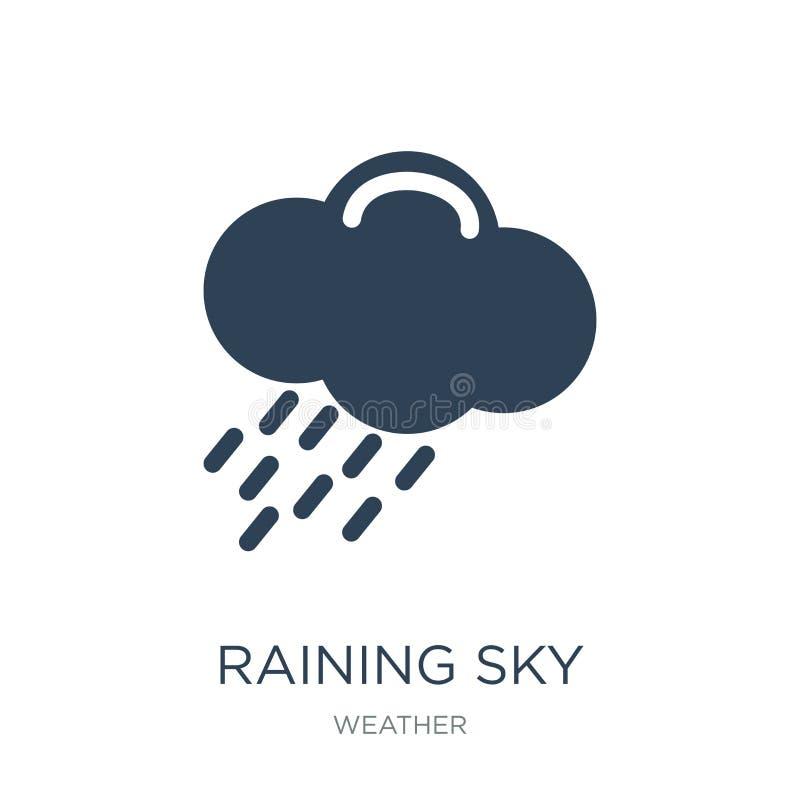 regenend hemelpictogram in in ontwerpstijl regenend die hemelpictogram op witte achtergrond wordt geïsoleerd regenend eenvoudig e royalty-vrije illustratie