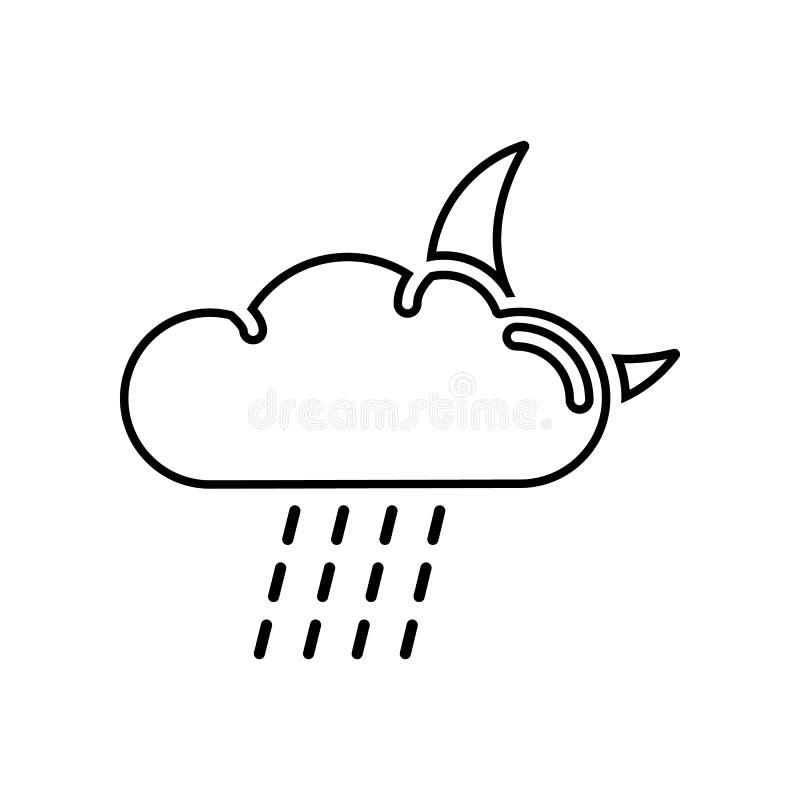 Regenend nachtpictogram Element van of voor mobiel concept en webtoepassingenpictogram Overzicht, dun lijnpictogram voor websiteo stock illustratie