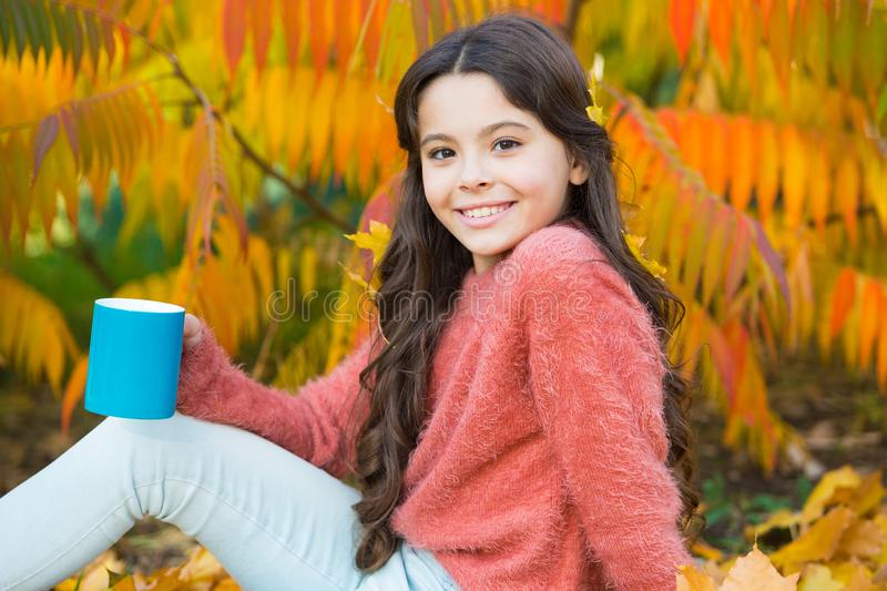 Regenerate energy. Happy small girl enjoy coffee in autumn morning. Little child hold cup of hot energy drink. Caffeine. Gives her energy royalty free stock photos
