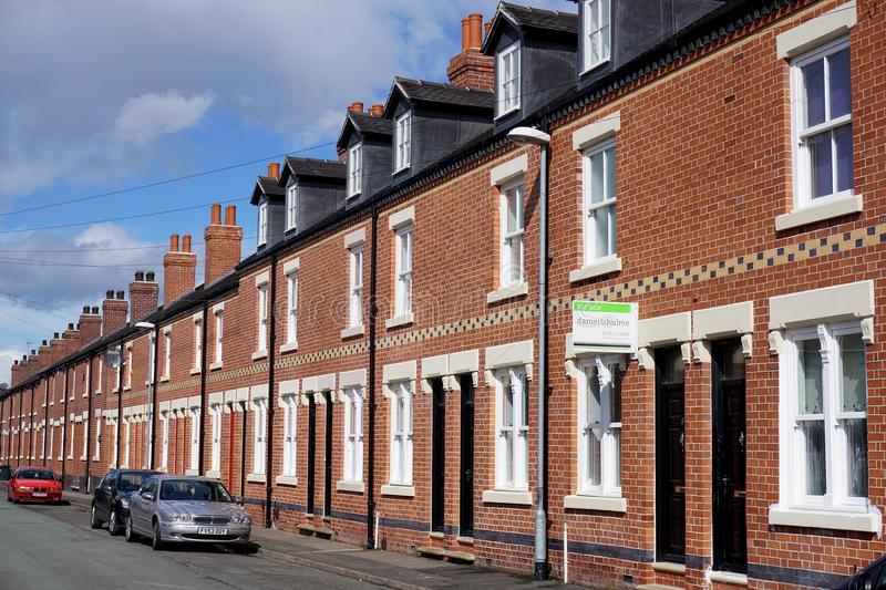 Regenerated Street of Terraced Houses in Stoke-on-Trent, England stock images