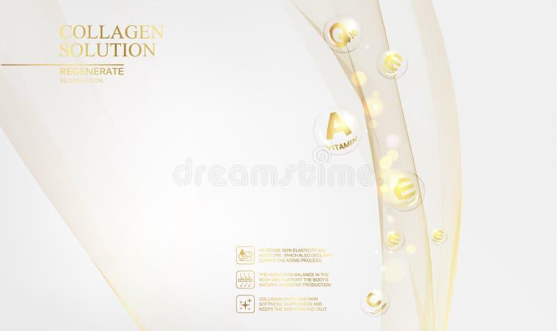 Regenereer van de gezichtsroom en Vitamine complex concept Glanzend gouden essentiedruppeltje Vitaminee daling in vorm van gebied stock illustratie