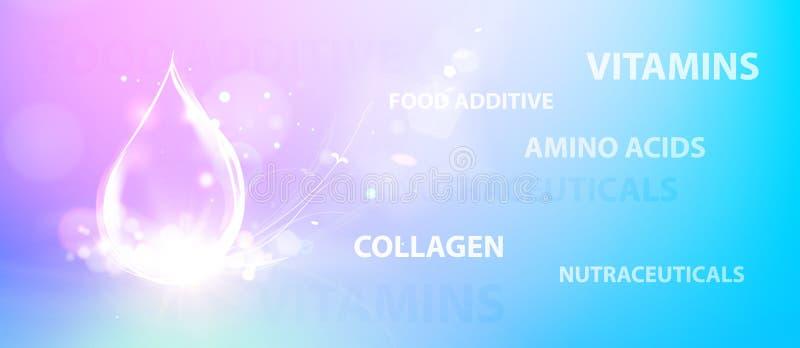 Regenereer van de gezichtsroom en Vitamine complex concept Glanzend violet essentiedruppeltje Vitaminee daling in vorm van gebied vector illustratie