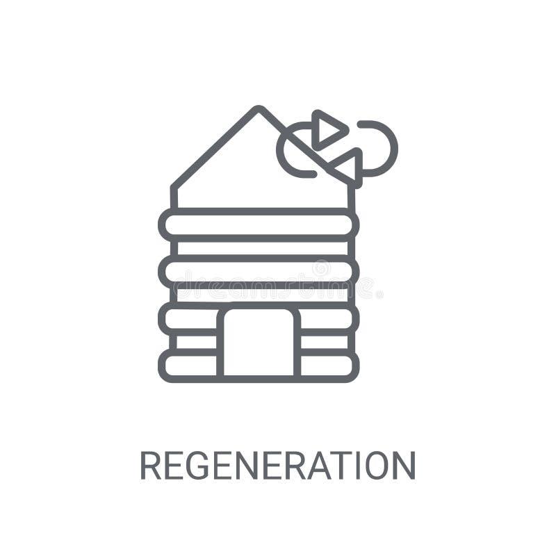 Regenereringsymbol Moderiktigt regenereringlogobegrepp på vit bac royaltyfri illustrationer