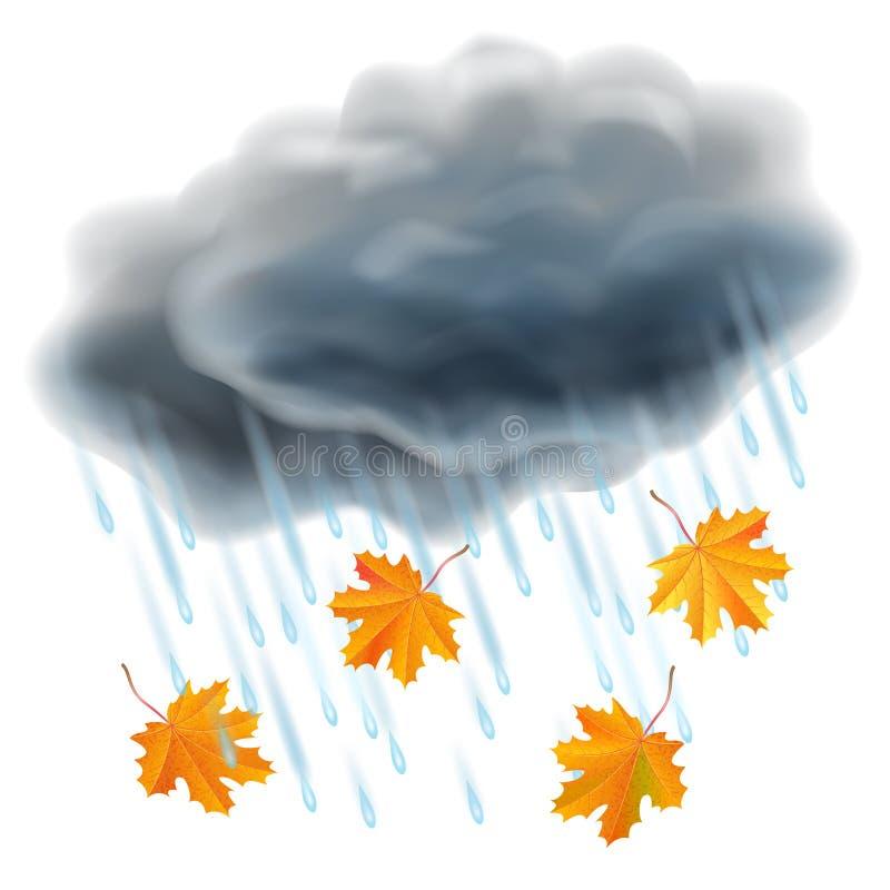 Regenillustratie Realistische grijze wolken, regendruppels en bladeren vector illustratie