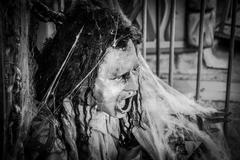 Regensburg, Bavaria, Germany, Mai 25, 2017, Scary figure at a haunted house at a folk festival in Regensburg in a cage stock photos