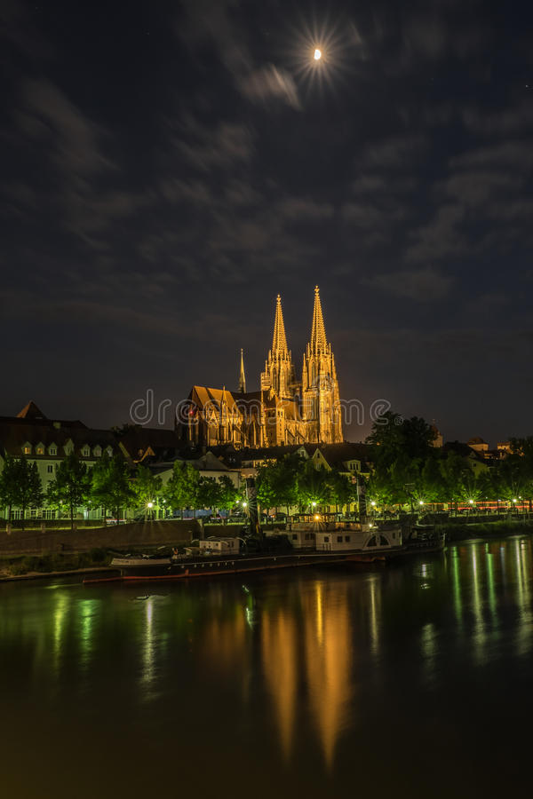 Regensburg cathedral under moonlight royalty free stock photo