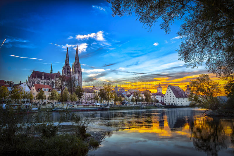 Regensburg St. Peters Church Sunset. Regensburg is a city in south-east Germany, situated at the confluence of the Danube, Naab and Regen rivers. With over 140 royalty free stock images