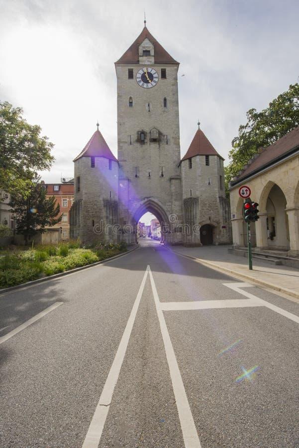 Regensburg, Germany, Bavaria, Danube, Medieval Gothic Architecture stock image