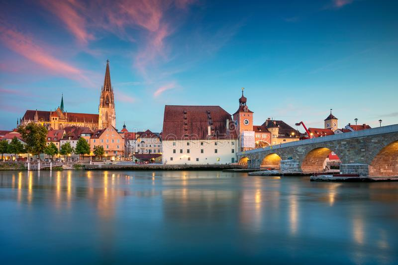 Regensburg, Germany. Cityscape image of Regensburg, Germany during twilight blue hour stock photos