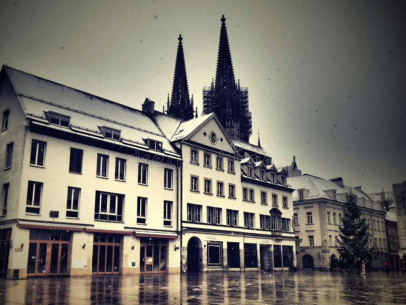 Regensburg-gorgeous historic town beautifully covered snow with all the beauties in the winter.  royalty free stock images