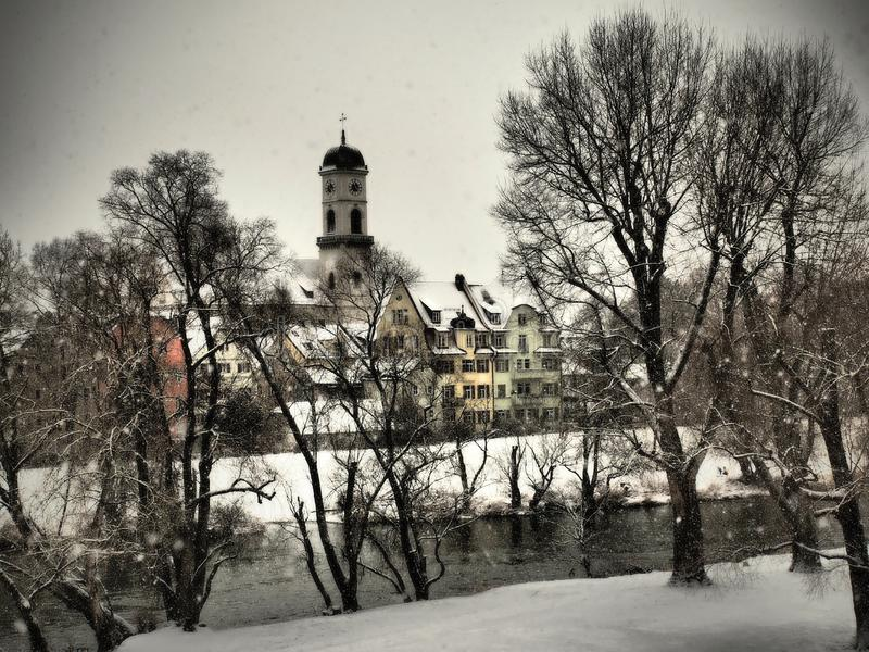 Regensburg-gorgeous historic town beautifully covered snow with all the beauties in the winter.  royalty free stock photography