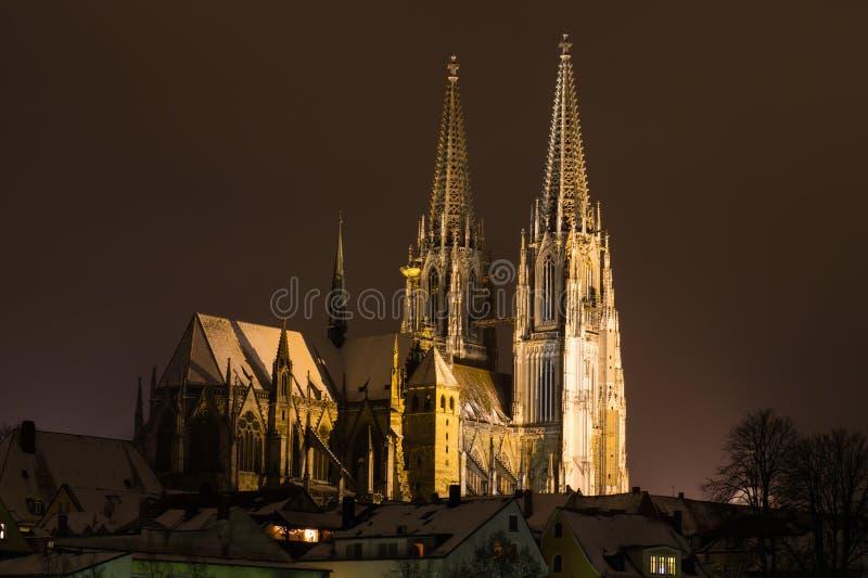 Regensburg i vinter royaltyfri fotografi