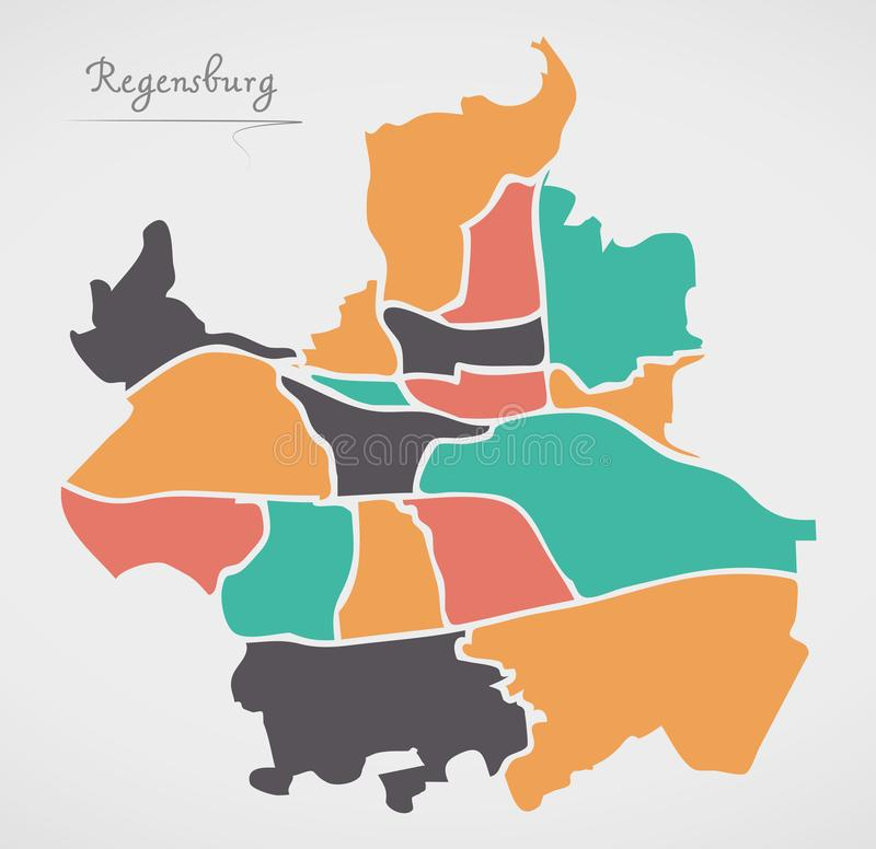Regensburg Map with boroughs and modern round shapes. Illustration vector illustration
