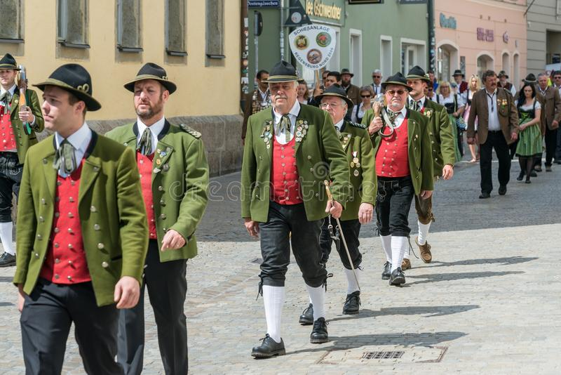 Regensburg, Niemcy, Mai 10, 2018, Maidult korowód w Regensburg, Niemcy zdjęcie stock
