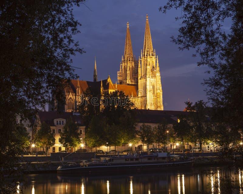 Regensburg at night stock image