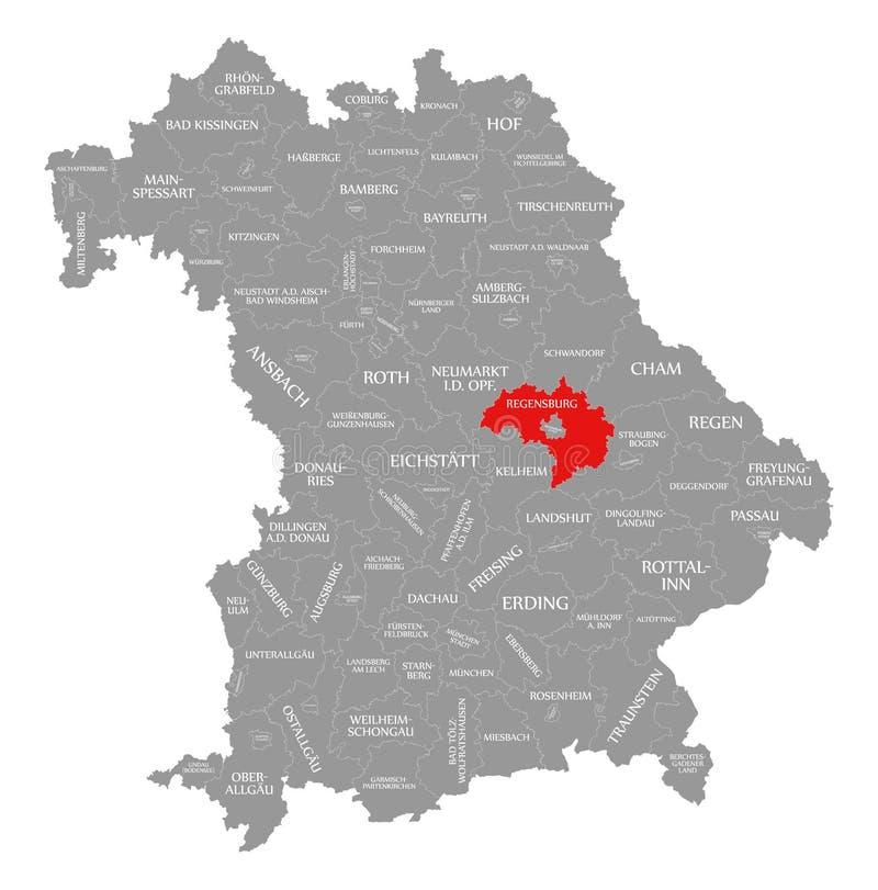 Regensburg okręgu administracyjnego czerwień podkreślająca w mapie Bavaria Niemcy ilustracja wektor