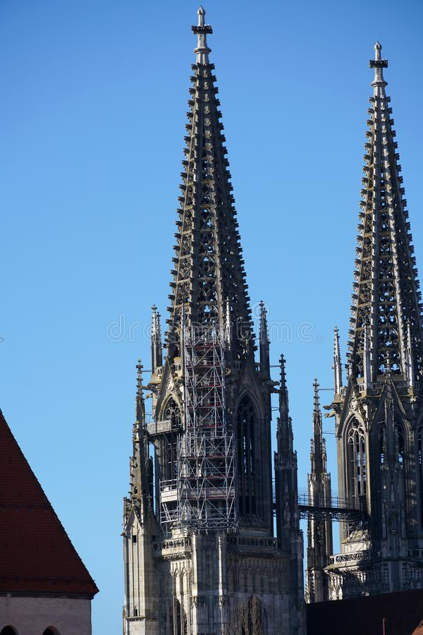 In Regensburg, old churches and St. Peter`s Cathedral. Photograph in the sunshine in the spring stock photo