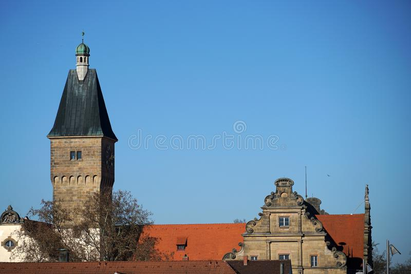 In Regensburg, old churches and St. Peter`s Cathedral. Photograph in the sunshine in the spring stock photos