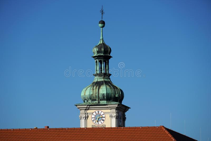 In Regensburg, old churches and St. Peter`s Cathedral. Photograph in the sunshine in the spring stock photography