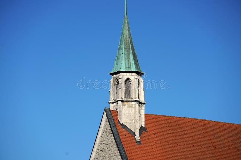 In Regensburg, old churches and St. Peter`s Cathedral. Photograph in the sunshine in the spring royalty free stock photography