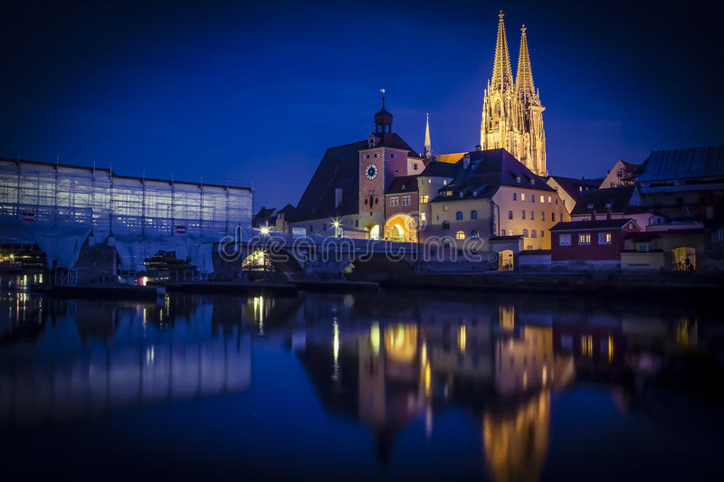 Regensburg St. Peters Church Nightview. Regensburg is a city in south-east Germany, situated at the confluence of the Danube, Naab and Regen rivers. With over royalty free stock photo