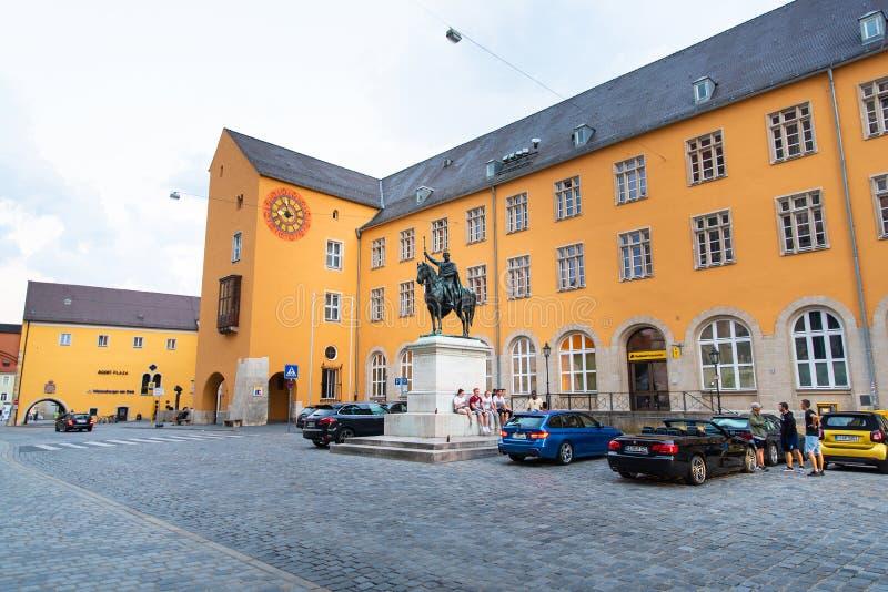 Regensburg Tyskland - 26 Juli, 2018: Staty av Ludwig I, konung av Bayern Också bekant som Louis I royaltyfria foton