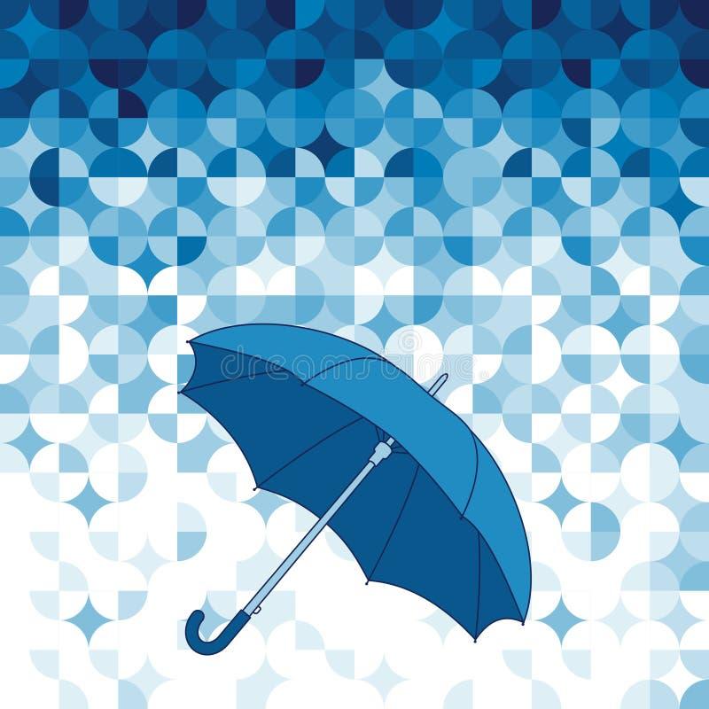 Regenschirm auf abstraktem geometrischem Hintergrund. vektor abbildung