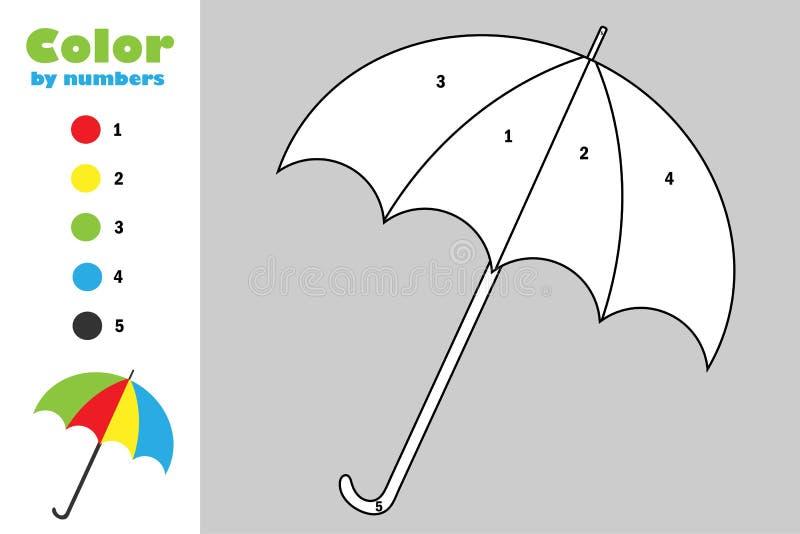 Regenschirm in der Karikaturart, Farbe durch Zahl, Herbstbildungs-Papierspiel für die Entwicklung von Kindern, Färbungsseite, sch stock abbildung