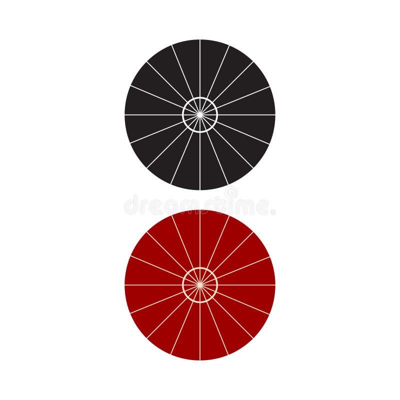 Regenschirm-Draufsichtikone Vektor-Illustration Sonnenschirm-flaches Zeichen lokalisiert auf weißem Hintergrund stock abbildung