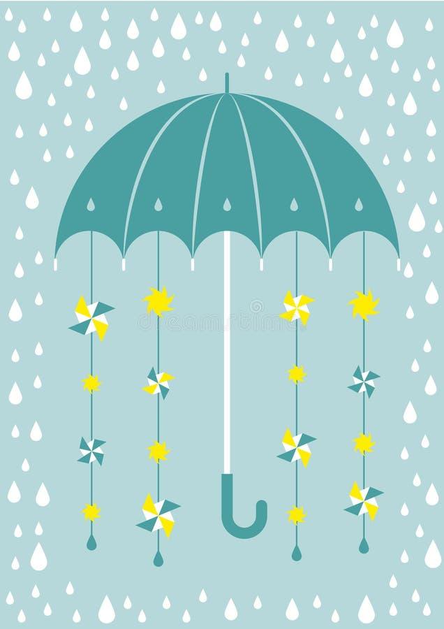 Regenschirm im Regen mit Sonnen und Windmühlen stock abbildung