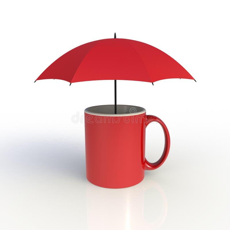 Regenschirm mit der roten Kaffeetasse lokalisiert auf wei?em Hintergrund Spott herauf Schablone f?r Anwendungsdesign lizenzfreie stockfotografie