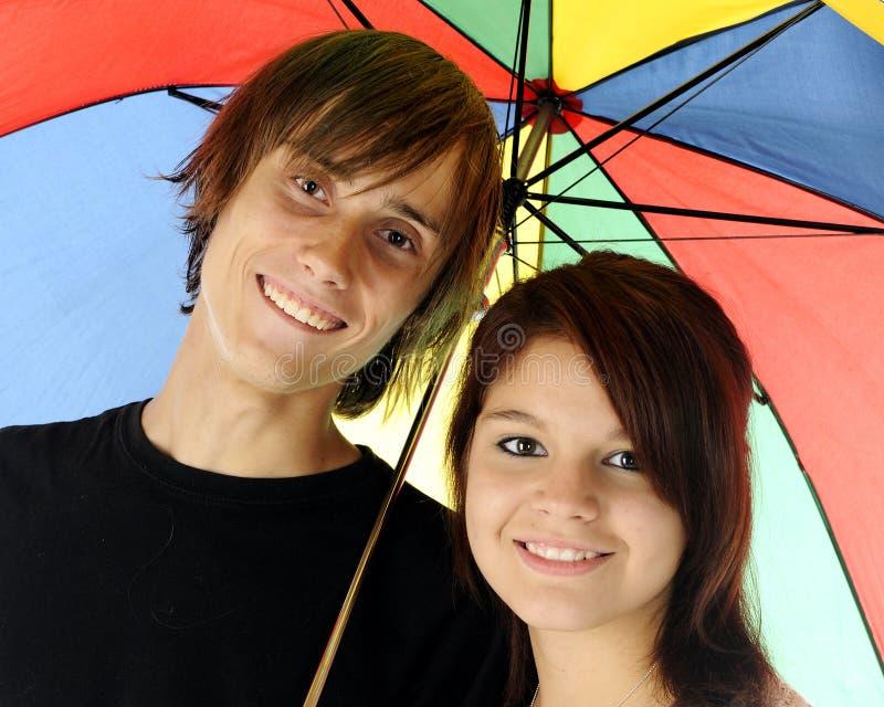 Regenschirm-Paare stockfoto