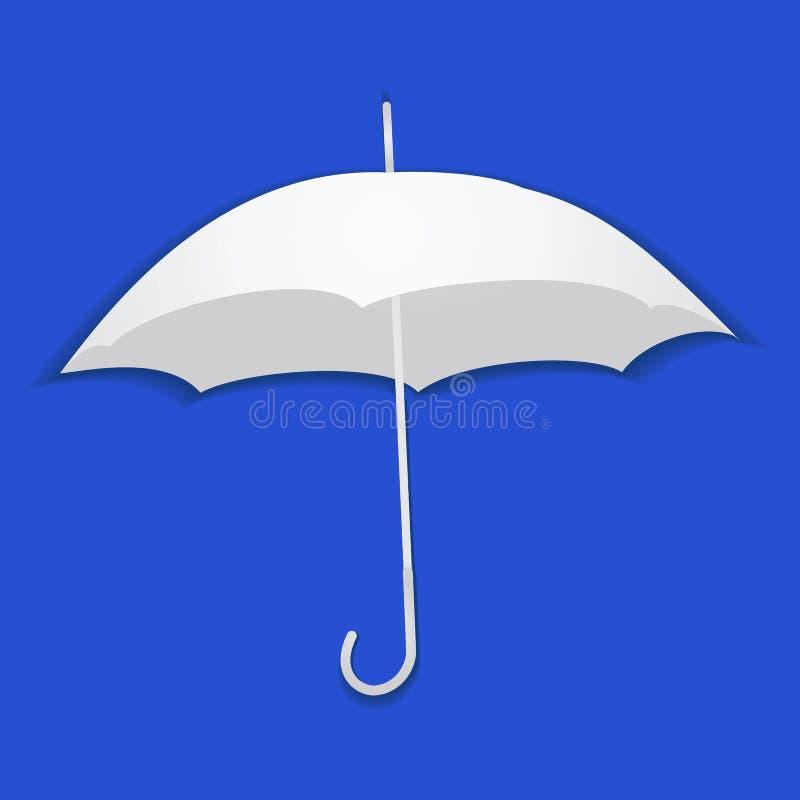 Regenschirm vom Papier auf einem blauen Hintergrund lizenzfreie abbildung