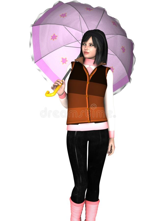 Regenschirmmädchenmodellieren lizenzfreies stockbild
