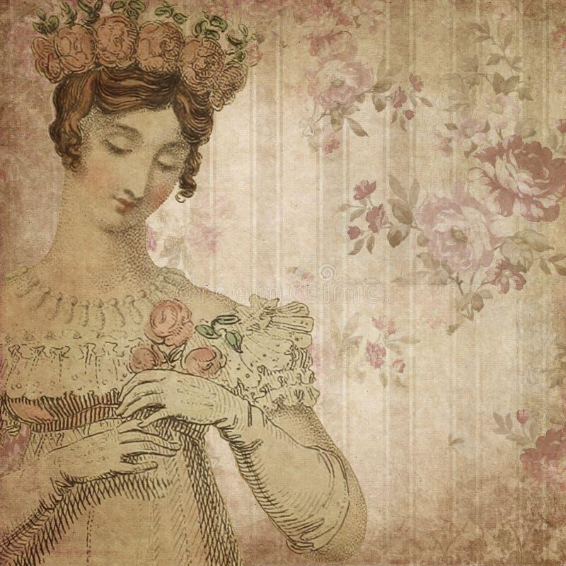Regenskapera - Jane Austen Inspired - tappning dämpade rosor - Digital pappers- bakgrund - rosor - stolthet & fördom stock illustrationer
