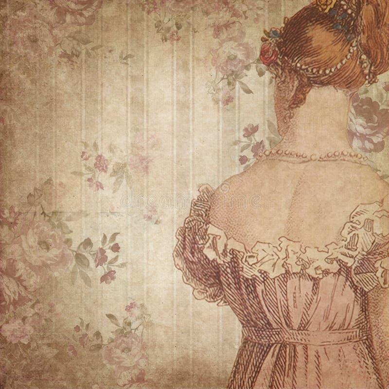 Regenskapera - Jane Austen Inspired - tappning dämpade rosor - Digital pappers- bakgrund - rosor - stolthet & fördom royaltyfri illustrationer