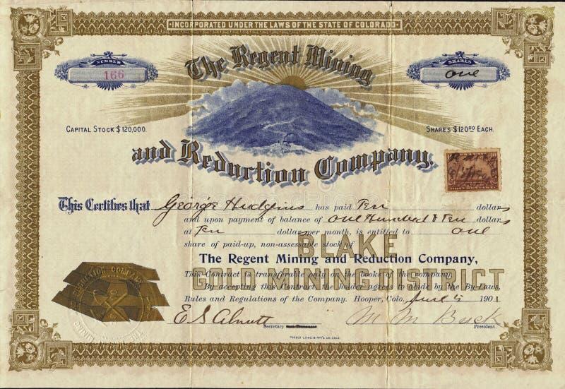 1901 Regent Mining ed il certificato azionario di Reduction Company immagini stock libere da diritti