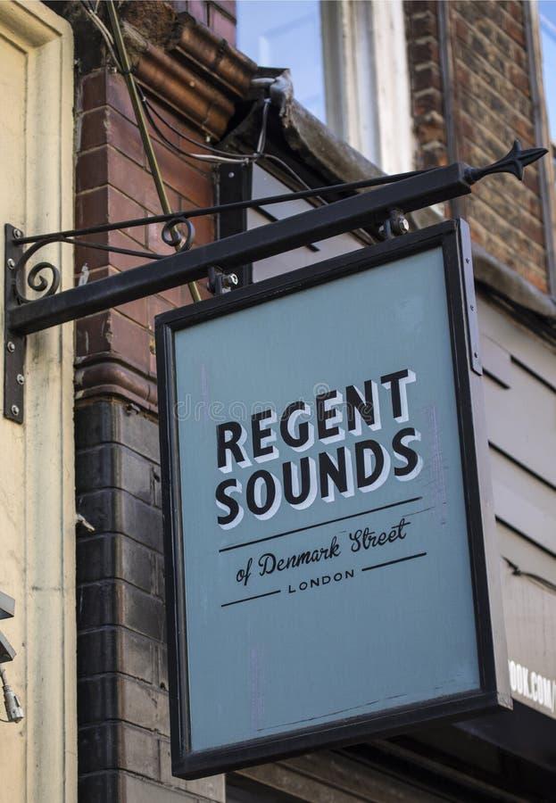 Regent Sounds of Denmark Street in London royalty free stock photos