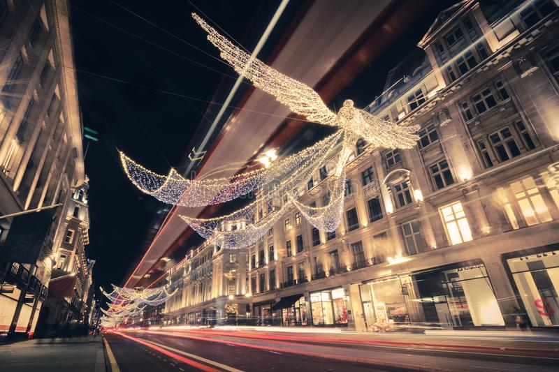 Regent Streeet Holiday Lights en Londres, Reino Unido foto de archivo