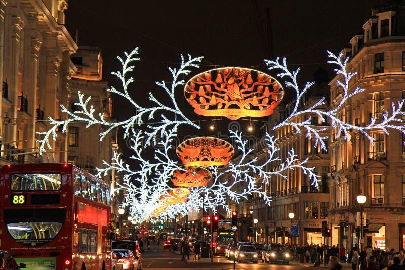 Regent street at Christmas, London stock images