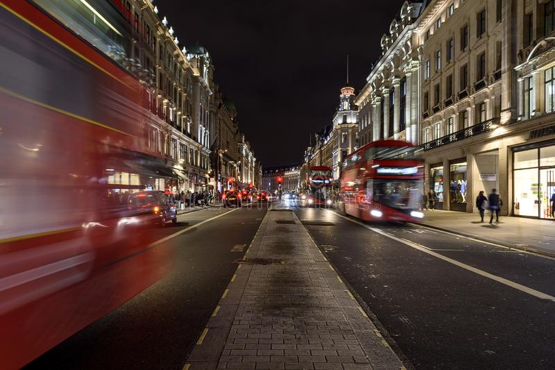 Regent Street la nuit photo stock