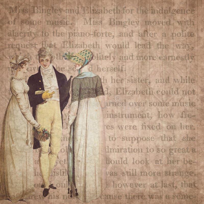 Regentaatera - Jane Austen Inspired - Digitale Document Achtergrond - Trots & Nadeel vector illustratie