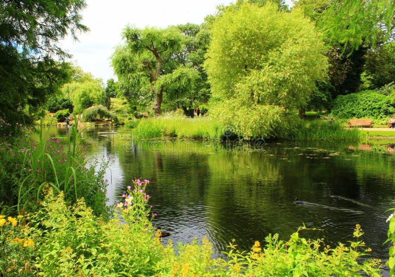 Regenter parkerar sjön London England arkivfoton