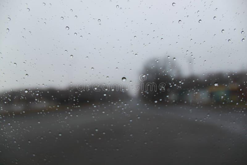 Regentropfen auf der Glasnahaufnahme Auf Bäumen und Häusern eines unscharfen Hintergrundes stockfoto