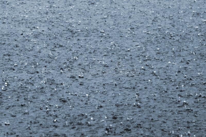Regentropfen auf einem See stockbilder