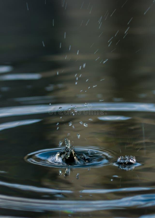 Regentropfen im Wasser stockbilder