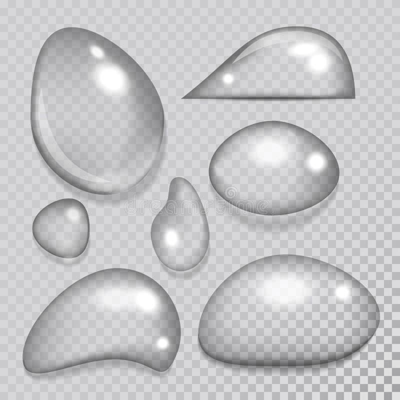 Regentropfenspritzen-Vektorillustration der realistischen Wassertropfen flüssige transparente stock abbildung