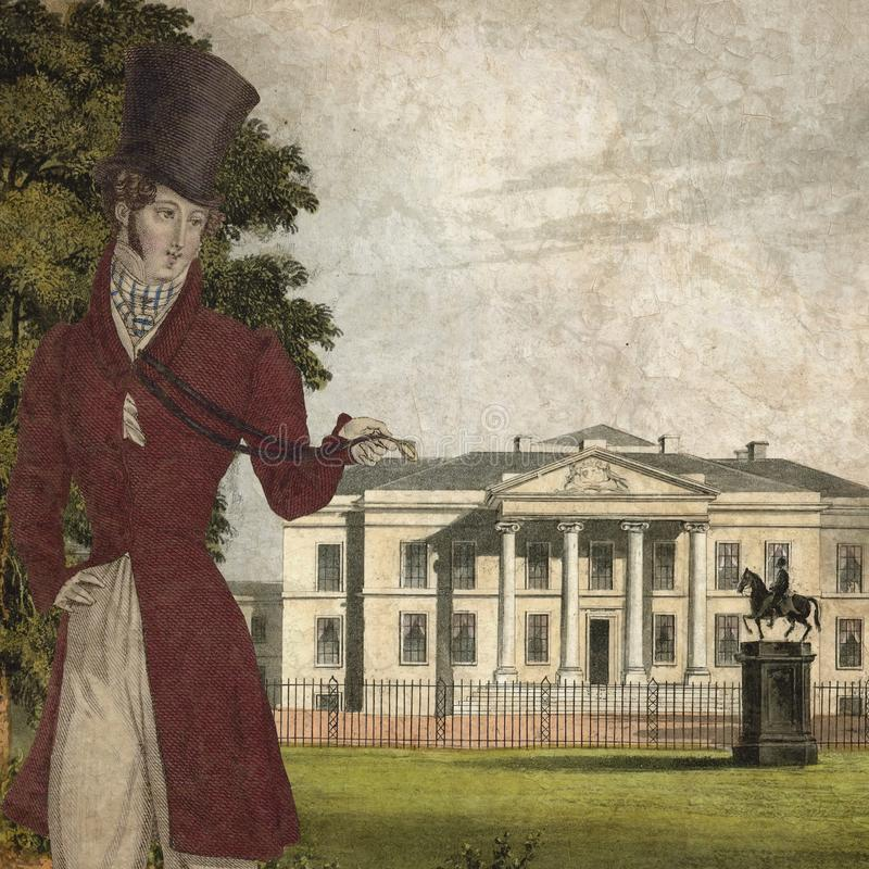 Regentschafts-Ära - Jane Austen Inspired - Digital-Papierhintergrund - Land-haus- Regentschaft England - romantische Digital-Papi stock abbildung