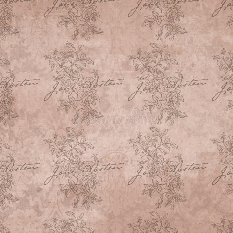 Regentschafts-Ära - Jane Austen Inspired - Digital-Papierhintergrund - Rosen - romantische Digital-Papiere vektor abbildung