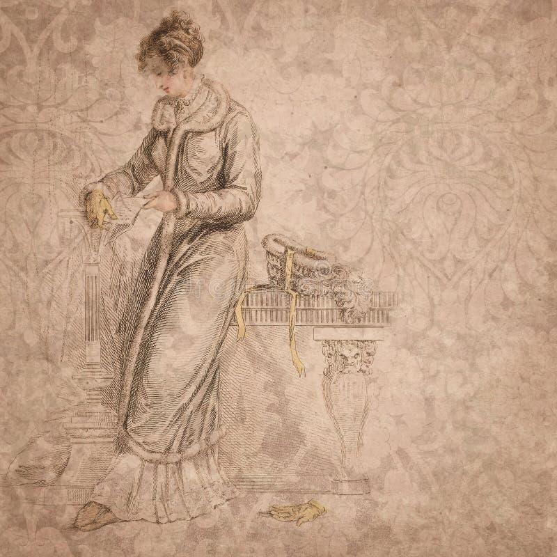Regentschafts-Ära - Jane Austen Inspired - Weinlese-Damast - Digital-Papierhintergrund - Rosen - Stolz u. Vorurteil lizenzfreie abbildung